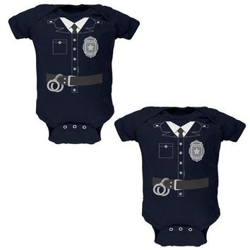 PEAPGQ9 Halloween Twins Good Cop Bad Cop Costumes Soft Twins Baby One Piece