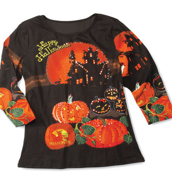 Happy Halloween 3/4 Sleeves Sequin Top