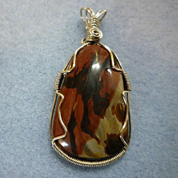 Picture jasper wire wrapped pendant handmade jasper pendant natural stone pendant stone wire wrapped jewelry handmade