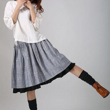 Gray midi skirt linen skirt women skirt with black layered hem  (777)
