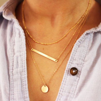 Skinny Bar Layer Necklace Set / Layered Necklace Set with Gold Bar Necklace / Layered Necklaces