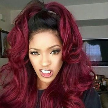 Black Burgundy Ombre Lace Front Wig