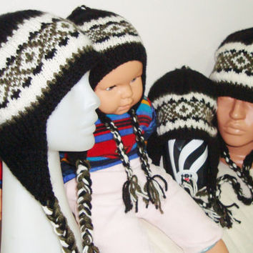 Hand Knitted Hats for Dad, Mom, Kids Family Matching Set hats with Earflaps in Black, Military Green, Cream Beanies Hats