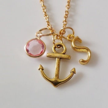 Anchor necklace, Nautical necklace, Initial necklace, Personalized necklace, Antique gold necklace, birthstone charm necklace, Monogram