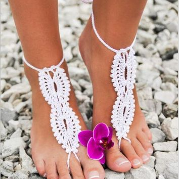 VONEL7C 1Pair  Hot Beach wedding Crochet wedding Barefoot Sandals Hollow Nude shoes Foot Lace Anklet Free Shipping 4 Color Free Shipping