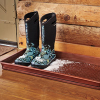 Copper-Finished Galvanized Steel Embossed Boot Tray - Plow  Hearth