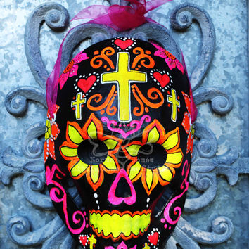 Dia De Los Muertos Mask - Black and Neon Sugar Skull - Sugar Skull Mask - Calavera Mask - Calaca - Mexican Folk Art - Halloween Mask - Skull