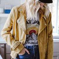 Lemon Drop Mustard Suede Moto Jacket