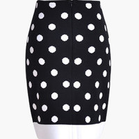 Black and White Polka Dot Bodycon Mini Skirt