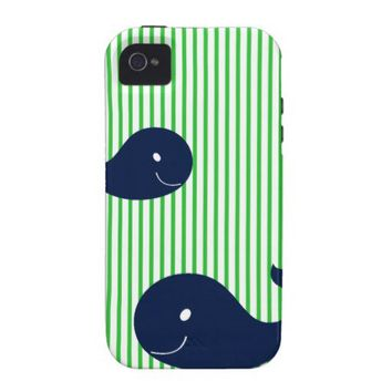 Preppy Whale Navy Green Stripe iphone 4 4s case Case-Mate iPhone 4 Covers from Zazzle.com