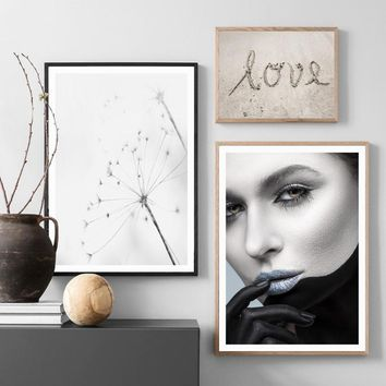 Girl Dandelion Beach Quote Landscape Wall Art Canvas Painting Nordic Posters And Prints Wall Pictures For Living Room Wall Decor