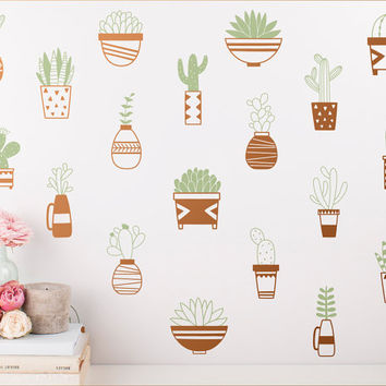 Succulent Wall Decals - Cactus Decals, Modern Wall Decal, Geometric Decals, Vinyl Wall Decals, Nursery Decor, Cute Tribal Wall Stickers