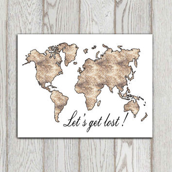 World map printable Let's get lost Travel quote wall art Brown mosaic textured home decor Poster print Large print A4 A3 8x10 5x7 DOWNLOAD