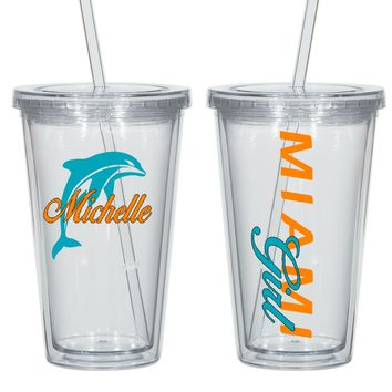 Miami Personalized Acrylic Cup  - Perfect Gift - Free Shipping