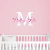 Girls Personalized Name Wall Decal - Monogrammed Vinyl Wall Lettering - Girls Room Decor - Teen Decor - Baby Nursery