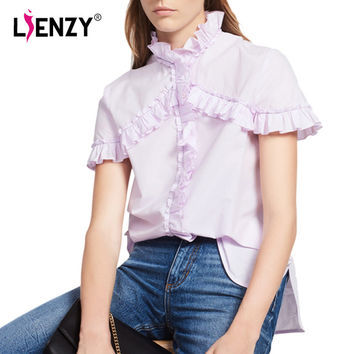 LIENZY Summer Ruffles Women Blouse Shirts Short Sleeve High Neck Pink Long Shirts Female Tops-in Blouses & Shirts from Women's Clothing & Accessories on Aliexpress.com | Alibaba Group