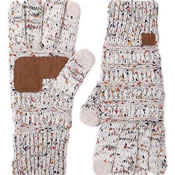 Funky Junque's C.C Beanies Matching Winter Warm Knit Touchscreen Texting Gloves