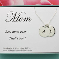Gift for Mom custom personalized sterling silver necklace with stamped initials Mother's Day gift for wife Mother necklace mommy jewelry