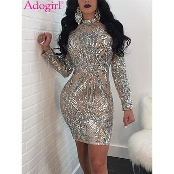 Adogirl 2018 Stylish Nude Sequins Long Sleeve Club Dress Gorgeous Turtleneck Bodycon Mini Party Dresses Stage Costumes Vestidos