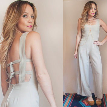 70s Khaki Backless Jumper Size Small XS | Wide leg romper Jumpsuit | Linen Palazzo Pants Pantsuit | Vintage Bell Bottom Tie-Back Catsuit