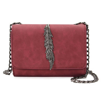 Retro Vintage Women Shoulder Crossbody Bags Nubuck Leather Chain Sling Bag Lady Messenger Handbags Feather Small Flap Day Clutch