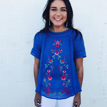 Touch of Floral Blouse - Blue