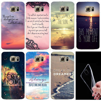 Deal Blast: Mobile Phone Bag For Samsung Galaxy S7Edge Soft Silicon TPU Flowers City Ocean Beach Poetic Words Printed Case Back Cover