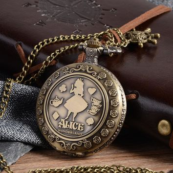 Cindiry New Arrival Retro Alice in Wonderland Theme Bronze Quartz Pocket Watches Vintage Fob Watches Christmas Brithday Gift P20