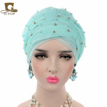 2017 New luxury mass gold beaded mesh head wrap turban hijab long breathable head scarf headscarf