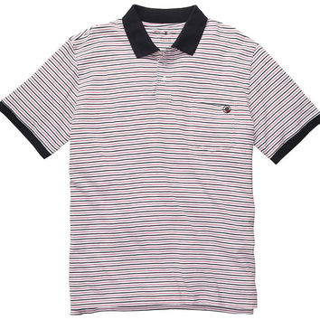 Pocket Polo in Red & Navy Stripe by Southern Proper