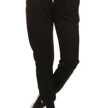 Quilted Joggers - Black