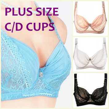 Intimates fashion style summer ultra thin bra large C/D cup bra adjustable straps sexy lace plus size underwired bra H049