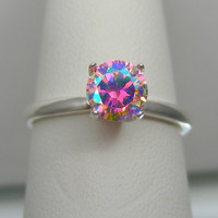 Unique Engagement Ring | Unique Wedding Ring | 1ct Venus Rising Mystic Fire Ice Sterling Silver High Set Solitaire Ring | Sz. 2-16