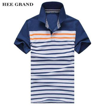 DCCKH0D Summer Style Men's Polo Shirt Fashion Striped Design Tops Blue & Red 2 Colors