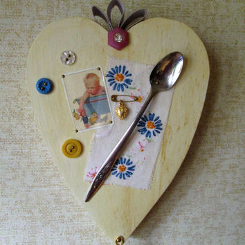 Childrens Wall Art heart nursery decor wall hanging retro cottage baby room boy girl mixed media decoupage picture wood folk art