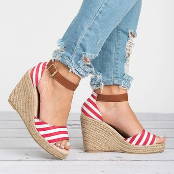 Rico Red Wedges Sandals