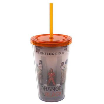 PEAPGQ9 Orange Is The New Black - Cast with Orange Lid & Straw Acrylic Tumbler With Straw