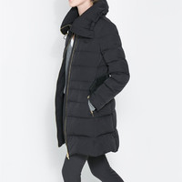 PUFFER JACKET WITH WRAPAROUND COLLAR - Coats - Woman | ZARA United States