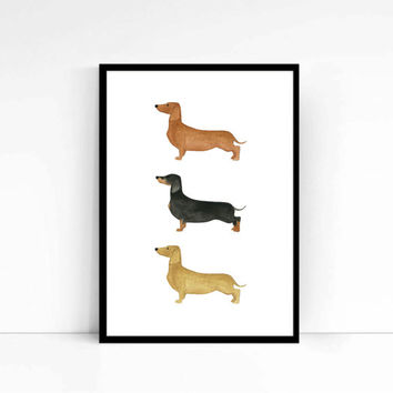 "Watercolor Fashion Illustration ""Hotdogs"" Giclee Art Print Home Decor Wall Art Weiner Dogs Dachshund"