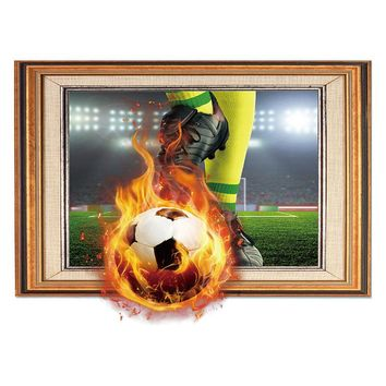 Cute 3D Wall Sticker World Cup Soccer Photo Decoration For Home Living Room Bedroom Office FP8 JU08