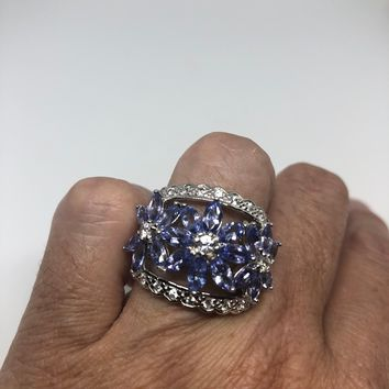 Vintage Handmade Genuine blue tanzanite white sapphire 925 Sterling Silver Gothic Ring
