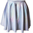 ChainCandy Hologram Holographic Silver High Waisted Circle Skirt