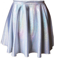 Hologram Holographic Silver High Waisted Circle Skirt