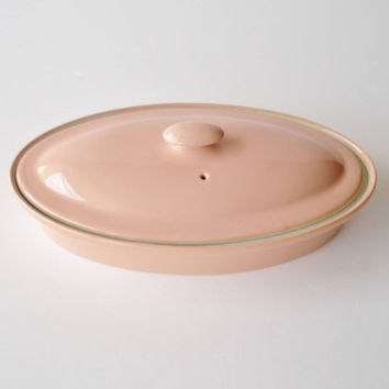 Vintage Hall China Pink Covered Dish Retro Pink Kitchen Oval Casserole