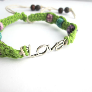 Love Connector Hemp Bracelet Lime Green Gifts for Her Love Charm Bracelet
