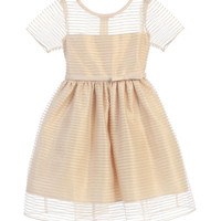 Sweet Kids Striped Metallic Organza Dress - Champagne, SK674
