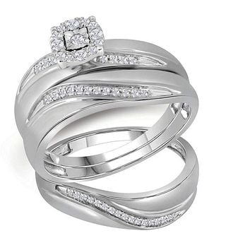 10k White Gold Round Diamond His & Hers Trio Matching Halo Wedding Ring Set - FREE Shipping (US/CA)