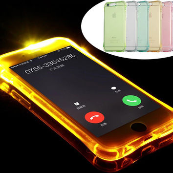 2016 Fashion New Soft TPU LED Flash Light Up Case Remind Incoming Call Cover For iPhone 5 5S SE 6 6S Plus 6Plus 6SPlus Cases