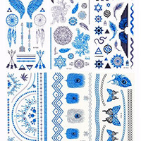 DaLin 6 Sheets Blue Silver and Black Body Temporary Metallic Tattoos Jewelry, Angel Wings, Cross Necklace, Earings, Snake, Feather, Arrows and More, Blue