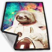 Dolla Dolla Bill Sloth Astronaut in Galaxy Blanket for Kids Blanket, Fleece Blanket Cute and Awesome Blanket for your bedding, Blanket fleece *
